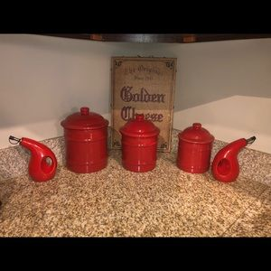 3 Piece Stoneware Red Cannister Set
